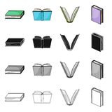Isolated object of library and textbook icon. Collection of library and school stock vector illustration. Vector design of library and textbook symbol. Set of vector illustration