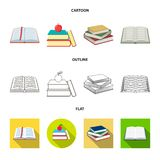 Isolated object of library and textbook icon. Collection of library and school vector icon for stock. Vector design of library and textbook symbol. Set of vector illustration