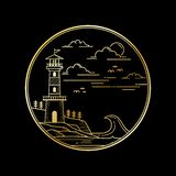 Vector design of lighthouse golden color royalty free illustration