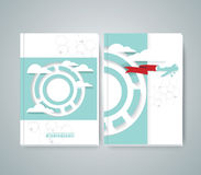 Vector design of Magazine Cover with airplane flying through clouds Stock Photos