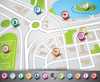 Vector design with map illustration and map pointe Royalty Free Stock Photo
