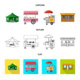 Isolated object of market and exterior logo. Set of market and food stock vector illustration. Vector design of market and exterior icon. Collection of market stock illustration