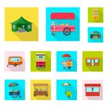 Vector design of market and exterior logo. Set of market and food vector icon for stock. royalty free illustration