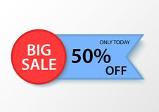 Big sale banner 50% discount. Vector design of marketing banner promotion Stock Photography