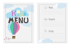 Vector design menu for a cafe, party. Design of children`s menu. Bright, colorful menu for a cafe. Childrens menu template stock illustration