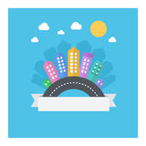 Vector design of modern cityscape with text area. Royalty Free Stock Photography
