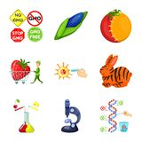 Isolated object of modified and genetically logo. Set of modified and science vector icon for stock. Vector design of modified and genetically icon. Collection vector illustration