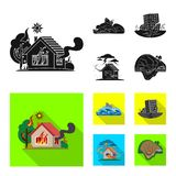 Isolated object of natural and disaster icon. Collection of natural and risk stock symbol for web. stock illustration
