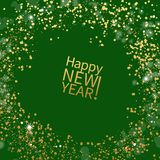 Vector design for new year greeting card. Green greeting card with golden sparkles. Vector template royalty free illustration