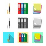 Vector design of office and supply symbol. Set of office and school stock symbol for web. stock illustration