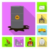 Vector design of oil and gas icon. Collection of oil and petrol stock vector illustration. royalty free illustration
