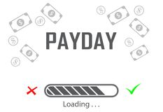 Payday loading bar. Vector design of payment waiting moment royalty free illustration