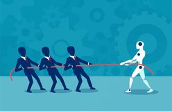 Flat design of human against robot. Vector design of people pulling rope with robot fighting with artificial intelligence Royalty Free Stock Images