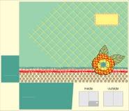 Vector design for pocket folder. Vector Template for pocket folder with patchwork flower Stock Illustration