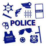 Vector design police symbols in round form with dark colors Stock Photos