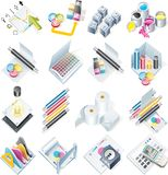 Vector design and print service icon set stock image
