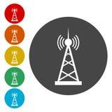 Vector design of radio tower broadcast icon. Vector icon stock illustration