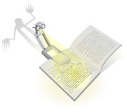 Vector design with a reading lamp and scary book. Stock Photos