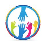 Helping hand people charity logo. A vector design represents helping hands for people charity orphanage concept stock illustration