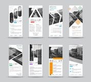 Vector design of roll-up banners with different geometric shapes vector illustration