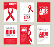 Vector design set with cards and template with red ribbon, earth planet and text. AIDS Awareness symbols in sketch style. Stock Photo