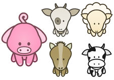 Vector design set of cartoon farm animals. Stock Photography