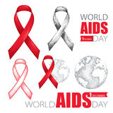 Vector design set with earth planet, red ribbon and text isolated on white background. AIDS Awareness symbols in sketch style. Stock Photos