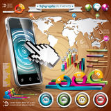 Vector design set of infographic elements. World map and information graphics on mobile phone. Royalty Free Stock Photo