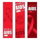 Vector design set with vertical banner with red ribbon and earth planet. AIDS Awareness symbols in sketch and line art style. Stock Photo
