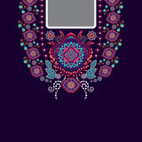 Vector design for shirts, blouses. Vector design for collar shirts, shirts, blouses. Ethnic flowers neck. Paisley decorative border Stock Images
