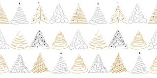 Сhristmas tree border or frame on white. Doodle gold, silver color hand drawn decor. stock illustration