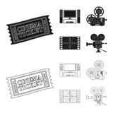 Vector design of television and filming icon. Set of television and viewing stock vector illustration. Vector illustration of television and filming symbol royalty free illustration