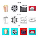 Isolated object of television and filming symbol. Collection of television and viewing stock symbol for web. Vector design of television and filming sign. Set stock illustration