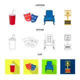 Isolated object of television and filming icon. Collection of television and viewing stock symbol for web. Vector design of television and filming symbol. Set vector illustration