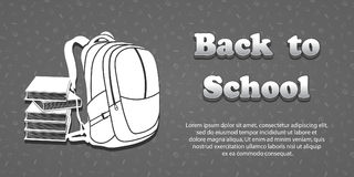 Vector design template for Back to school. Seamless pattern background with school supplies drawing icons. 3d text Back to school. Books and backpack symbol Stock Photo