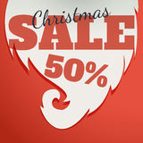 Vector Design template. Christmas Sale Text for Promotion on red background. Royalty Free Stock Image