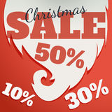 Vector Design template. Christmas Sale Text for Promotion on red background. Royalty Free Stock Photo