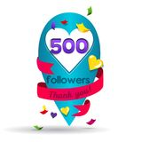 Thank you 500 followers card. Banner for Social Networks. Vector design template for friends, subscribers and followers.Card for user who celebrates a big vector illustration