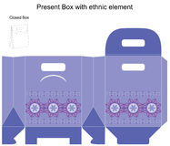 Vector design template for gift box. Template present box in blue colours. Vector illustration Stock Photos