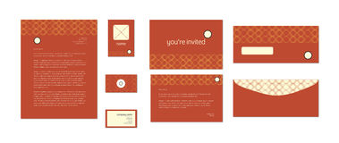 Vector design template of invitation card and envelope Stock Photography