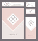 Vector design template with logo. For romantic and wedding design, announcements, greeting cards, posters, advertisement Stock Photos