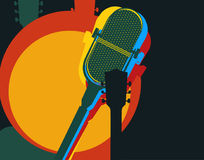 Vector design template, music theme. Guitar and retro microphone Royalty Free Stock Images