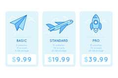 Vector design template for pricing table for website Royalty Free Stock Photos