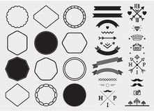 Vector design template set, collection for making badge, logo, stamp. Royalty Free Stock Images