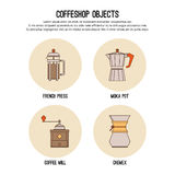 Vector design template with thin line icons of coffeeshop. Flat  graphic. Royalty Free Stock Image