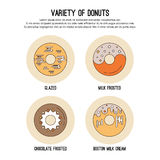 Vector design template with thin line icons of list sweet donuts  frosting and chocolate topping. Flat  graphic Stock Photography