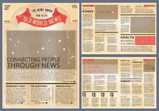 Vector Design Template Of Vintage Newspaper Old Paper Daily News Columns Newsprint Page Illustration