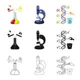 Vector design of test and synthetic symbol. Set of test and laboratory stock symbol for web. Vector illustration of test and synthetic sign. Collection of test stock illustration
