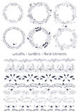 Vector design toolkit includes: 6wreaths, 7borders and individual floral elements. vector illustration