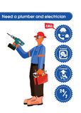 Vector design of a trade man. Which can be a plumber, carpenter or electrician wearing a helmet with headlamp and safety glasses and holding driller and tools Royalty Free Stock Images